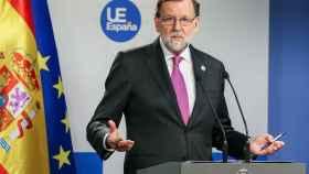 El presidente del Gobierno, durante la rueda de prensa del Consejo Europeo