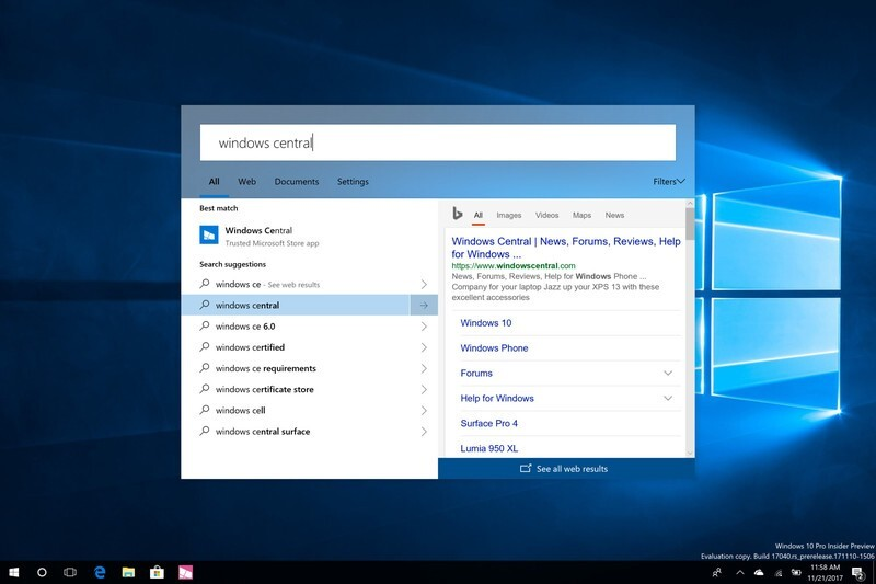 nueva experiencia de busqueda windows 10