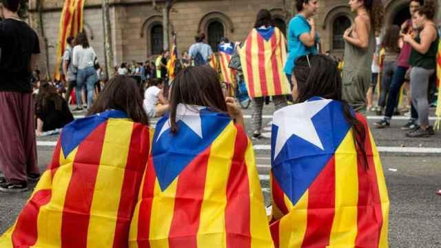 Estudiantes catalanes durante una manifestación independentista.