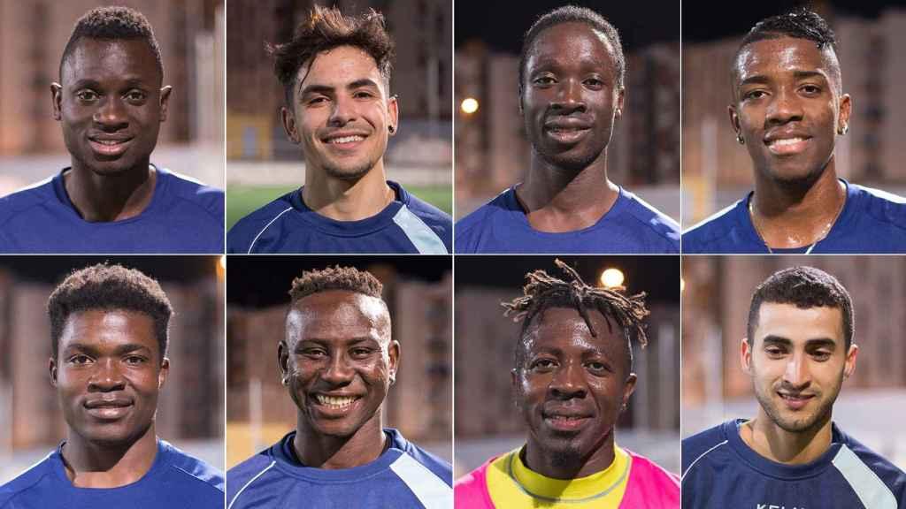 De izquierda a derecha y de arriba hacia abajo: Modou Dione; Nour Bendamouch; Pedro Semedo; Jhon Moreno; Christian Tchikagoua; Khadimour Rassoul Mbaye; George, y Hamza Charafi