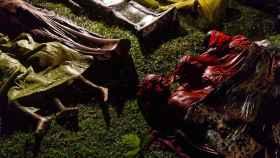 Cuerpos de refugiados rohingyas después de intentar cruzar la frontera entre Myanmar y Bangladesh