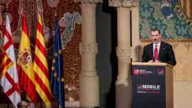 El rey Felipe VI en su discurso en el Mobile World Congress este domingo.