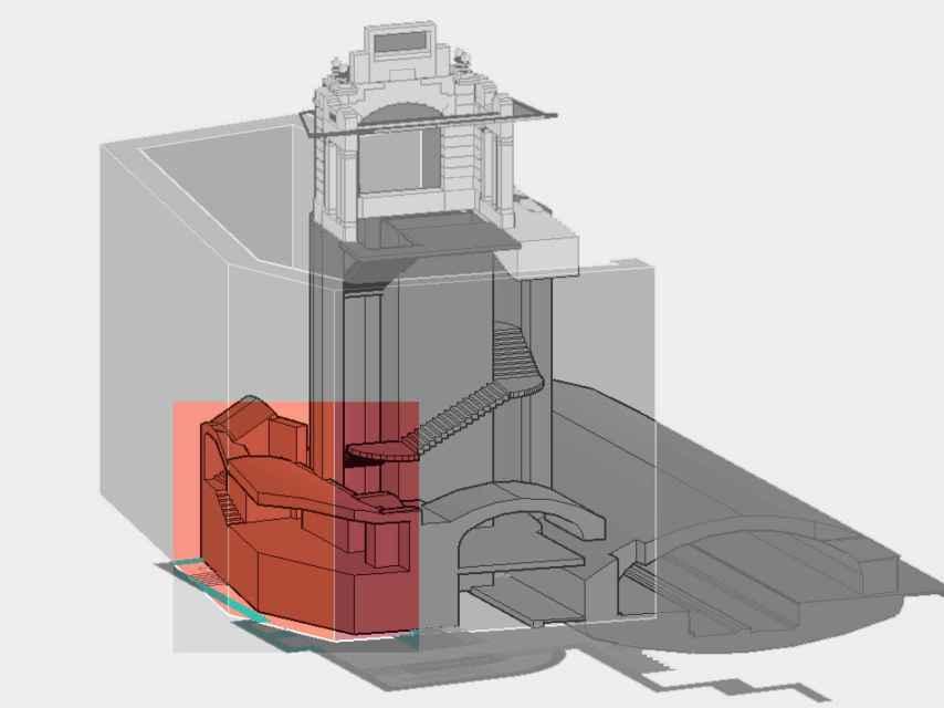 En rojo, la zona que corresponde con la afección al vestíbulo de 1934, coincidente con la foto de apertura de esta noticia.