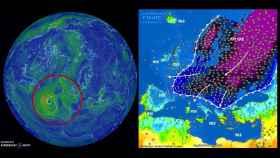 A la izquierda, la borrasca atlántica, a la derecha, la 'bestia del Este'.