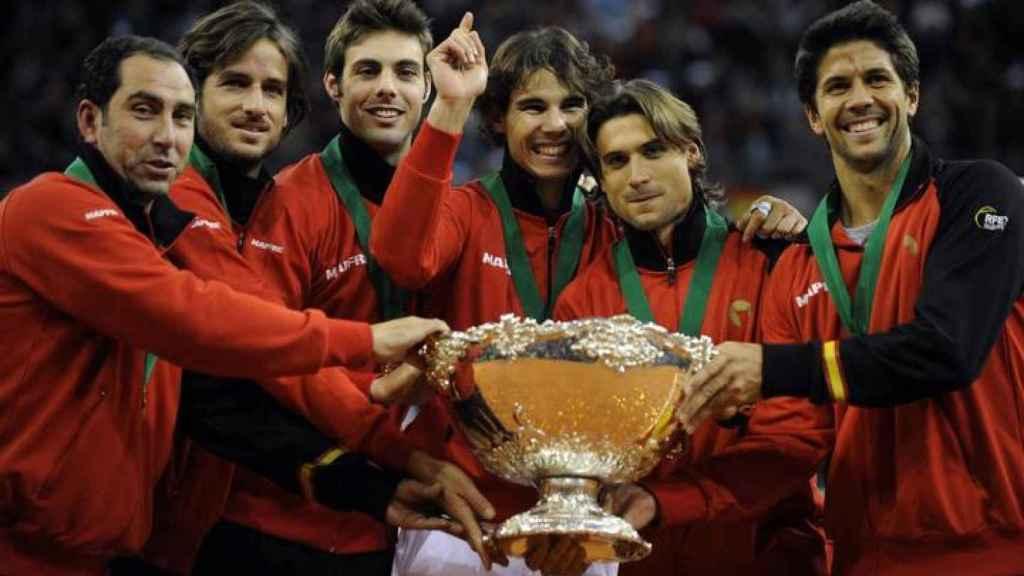 La celebración de España en la Copa Davis 2011.