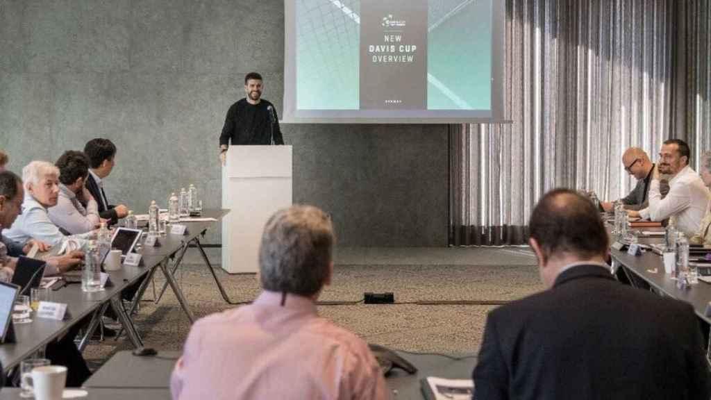Piqué, durante la presentación de su proyecto a la ITF.
