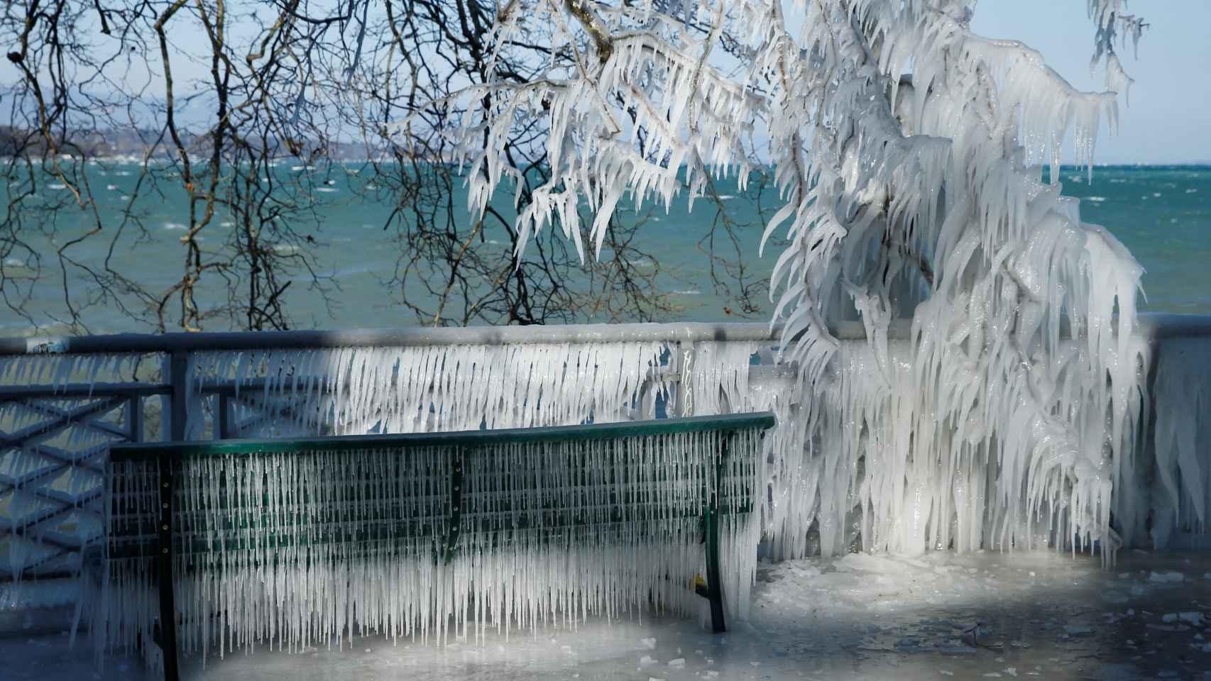 Salpicaduras congeladas cubren las ramas, una verja y un banco frente al lago Leman de Ginebra. REUTERS/Denis Balibouse.
