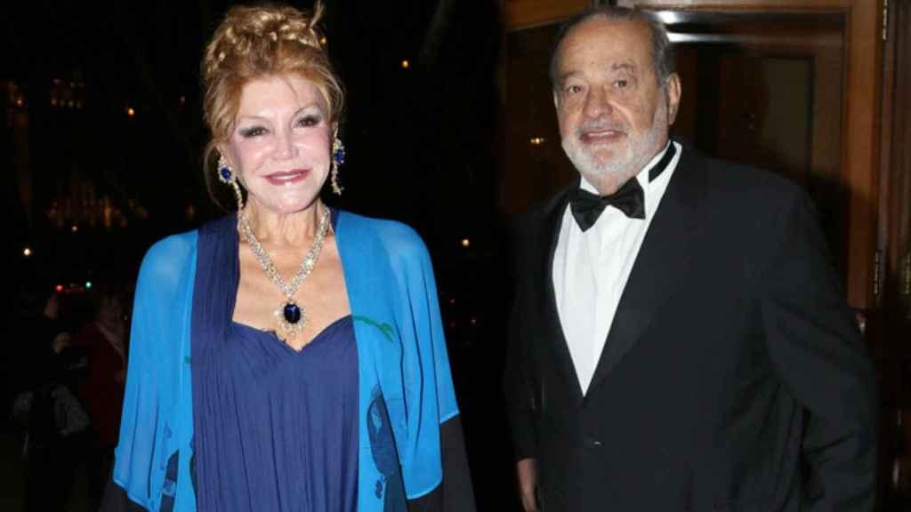La baronesa Thyssen y Carlos Slim.