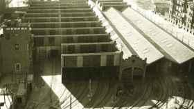 Vista aérea de las cocheras de Cuatro Caminos, en 1965.