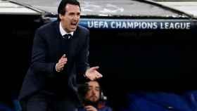 Unai Emery, durante el Real Madrid - PSG.