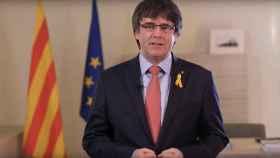 Carles Puigdemont en un momento de su intervención.