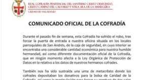 Valladolid-comunicado-cofradia-robo-caja-fuerte