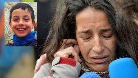 La madre del menor desaparecido en el paraje de las Horticuelas en Níjar y el pequeño Gabriel en un montaje.