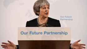 La primera ministra, Theresa May, durante su discurso en Londres