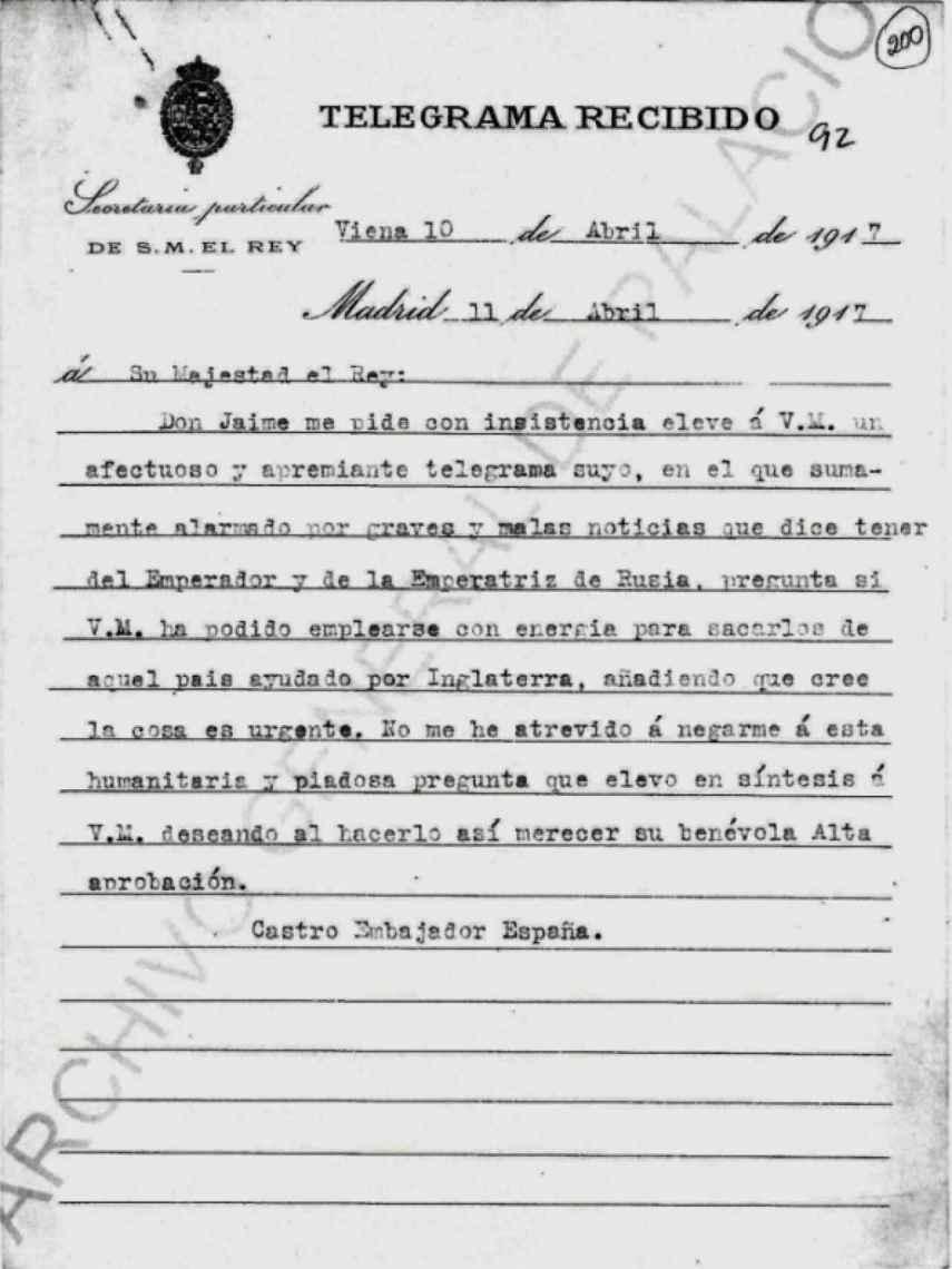 Copia del telegrama enviado desde Viena, con solicitud de Jaime de Borbón.