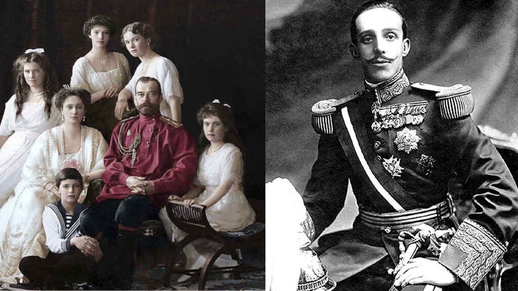 Alfonso XIII y la familia real rusa.