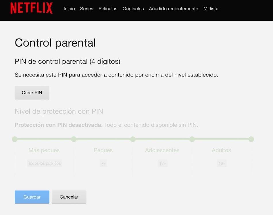 pin control parental netflix