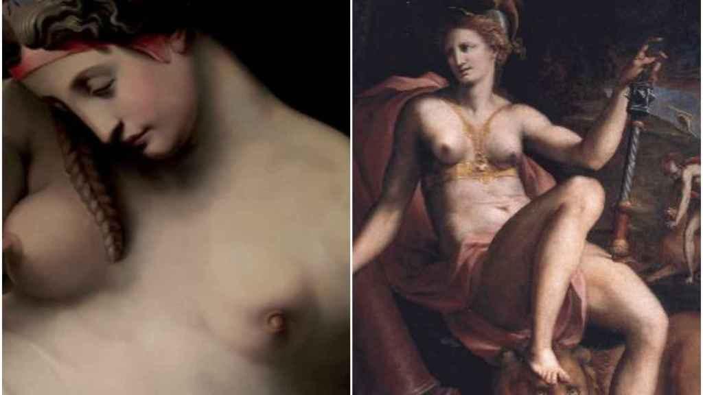 Dos representaciones de cáncer de mama: La noche, de Ghirlandaio y La alegoría de la fortaleza, de da San Friano.