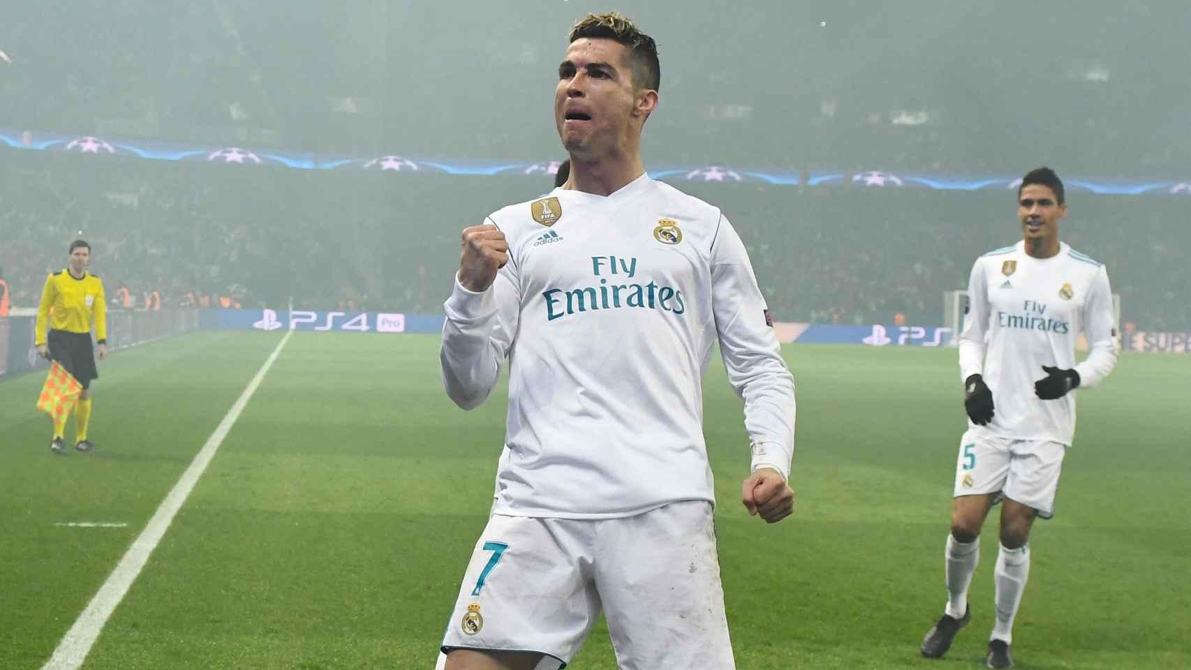 La celebración de Cristiano de su gol, el que colocó el 0-1 en el marcador.