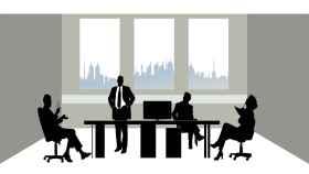 Ilustración de una reunión empresarial.