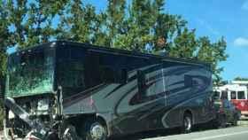 Caravana contra la que chocaron las españolas accidentadas