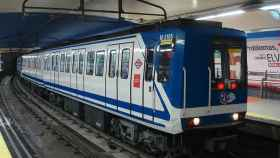 Varios vagones del Metro de Madrid.