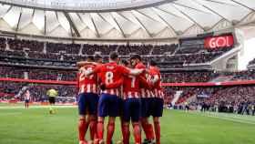 Los jugadores del Atlético celebran un gol en el Wanda Metropolitano.