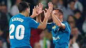 Celebración de Asensio y Lucas Vázquez