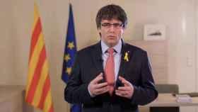 Puigdemont, durante el discurso en el que propuso a Sànchez como candidato a 'president'