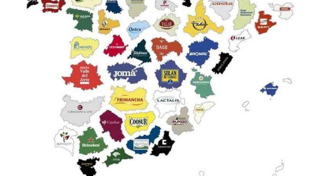Mapa de las empresas más importantes en las provincias españolas