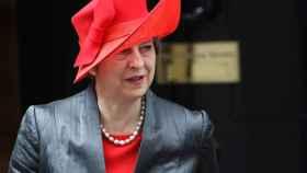 May este lunes saliendo de Downing Street