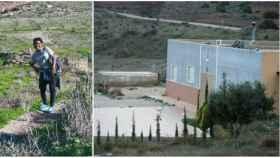 Ana Julia, de senderismo en la zona. A la derecha la casa de la finca en la que el cadáver de Gabriel estuvo metido en un pozo.