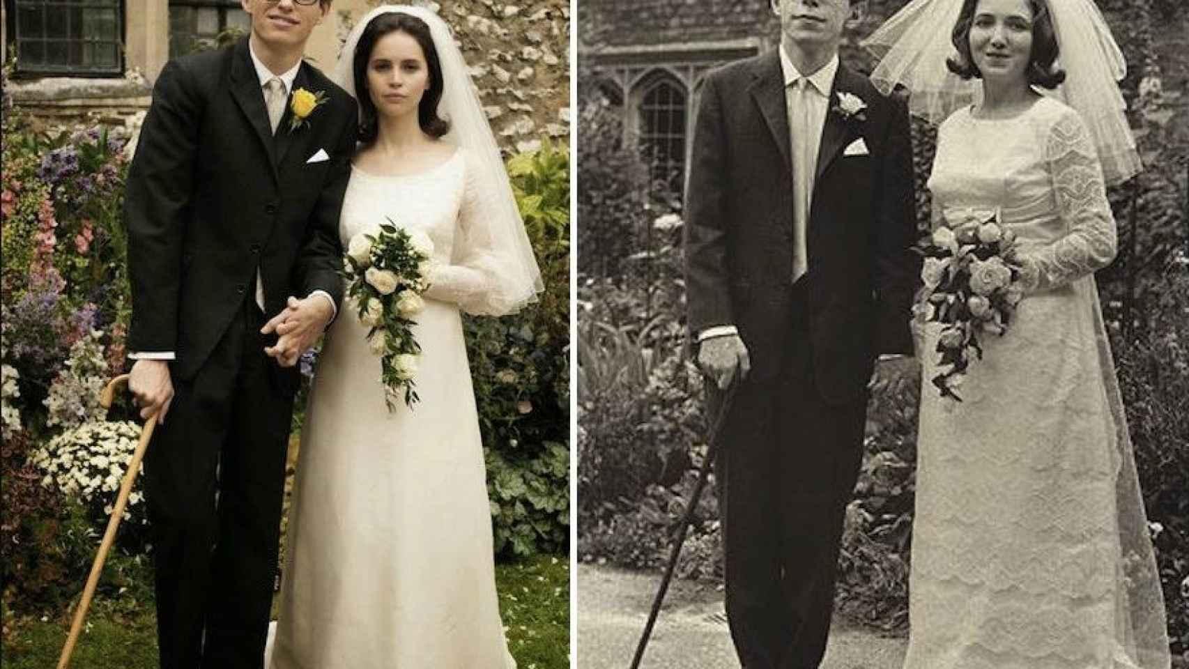 La boda de Stephen Hawking con Jane Wilde, en el que el físico tuvo que sostenerse con un bastón dados los primeros síntomas de su enfermedad. La escena se recreó en la película 'La teoría del Todo'.