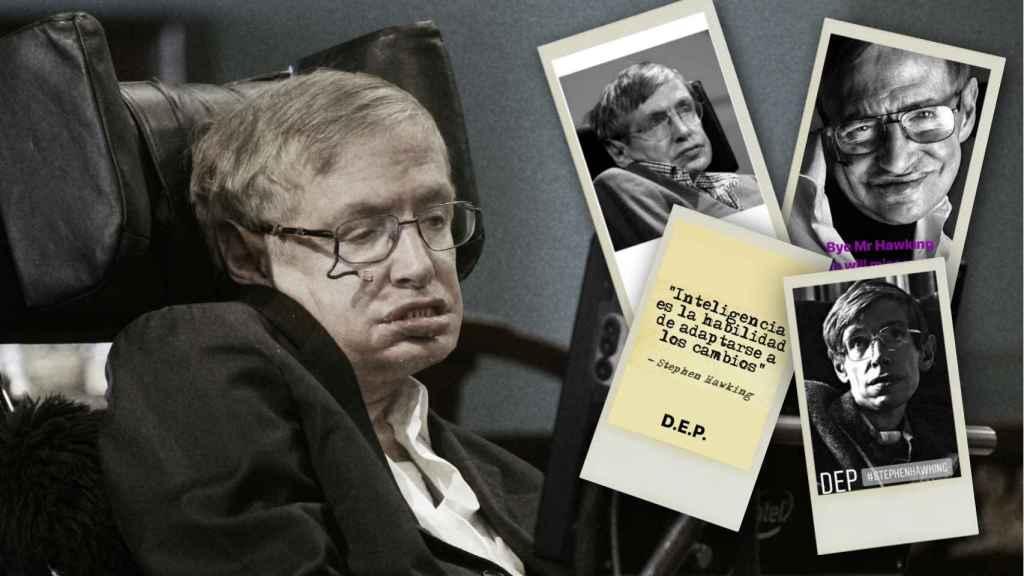 Stephen Hawking junto a los mensajes de los famosos en un montaje.
