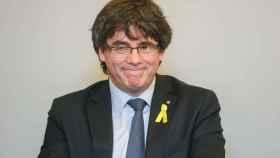 Puigdemont, este miércoles durante la reunión en Bruselas con diputados de JxC./