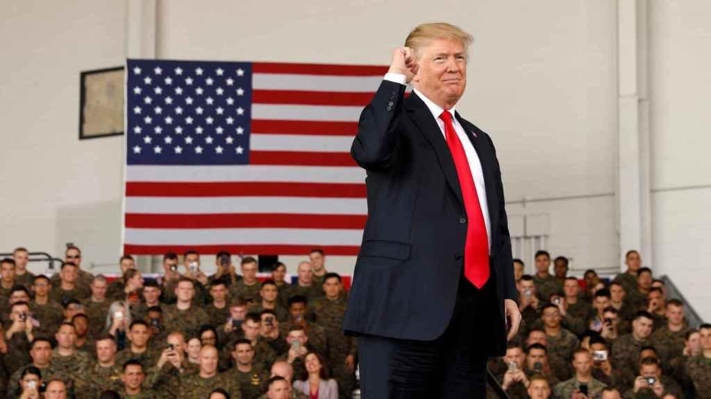 El presidente Trump, este jueves en San Diego (California) en un encuentro con marines.