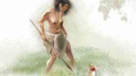 Ilustración de una mujer denisovana