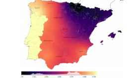 La proporción de ancestros norteafricanos en España, más intensa cuanto más claro el color.