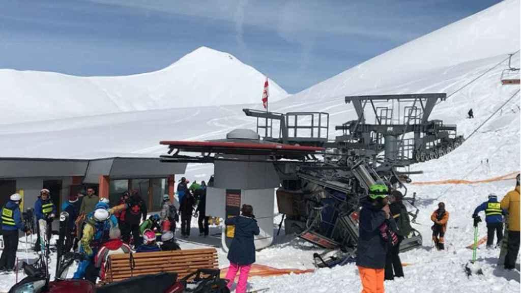 Así quedó la escena del accidente en la estación de esquí de Gudauri.