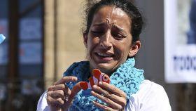 Patricia Ramírez durante un acto para buscar a su hijo Gabriel antes de conocer el fatal desenlace