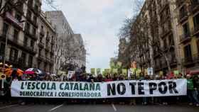 Cabecera de la manifestación convocada por la defensa del modelo de inmersión lingüística en la escuela catalana.