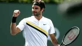 Federer, celebrando un punto en el partido ante Coric.