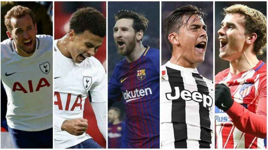 Harry Kane, Dele Alli, Leo Messi, Paulo Dybala y Antoine Griezmann