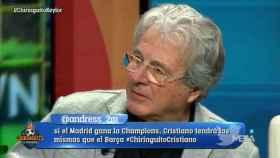 D'Alessandro, en El Chiringuito. Foto: Twitter (@elchiringuitotv)