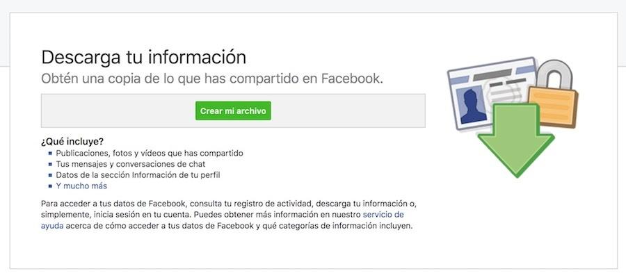 copia datos cuenta facebook