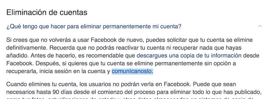 eliminar borrar cuenta de facebook