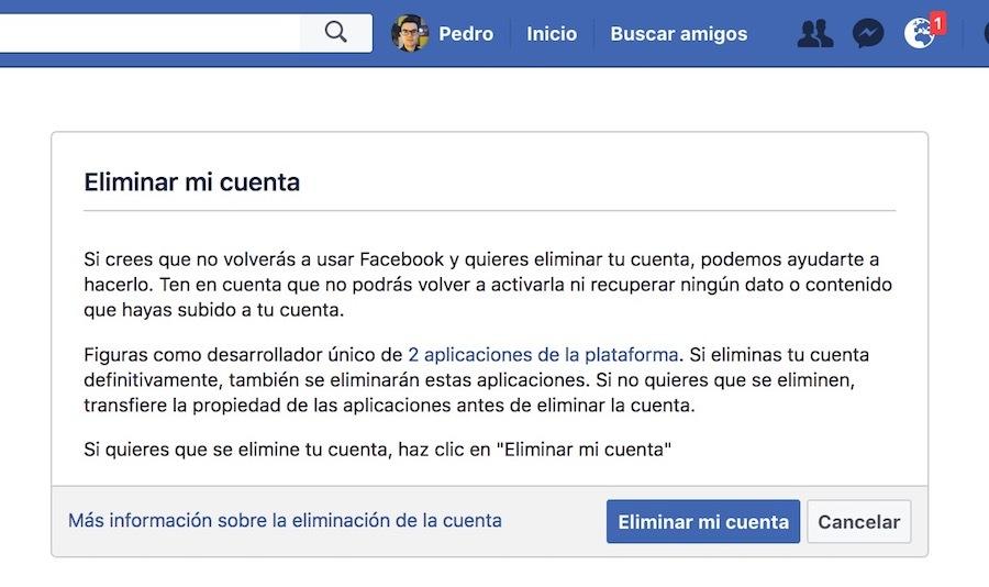 eliminar cuenta de facebook borrar