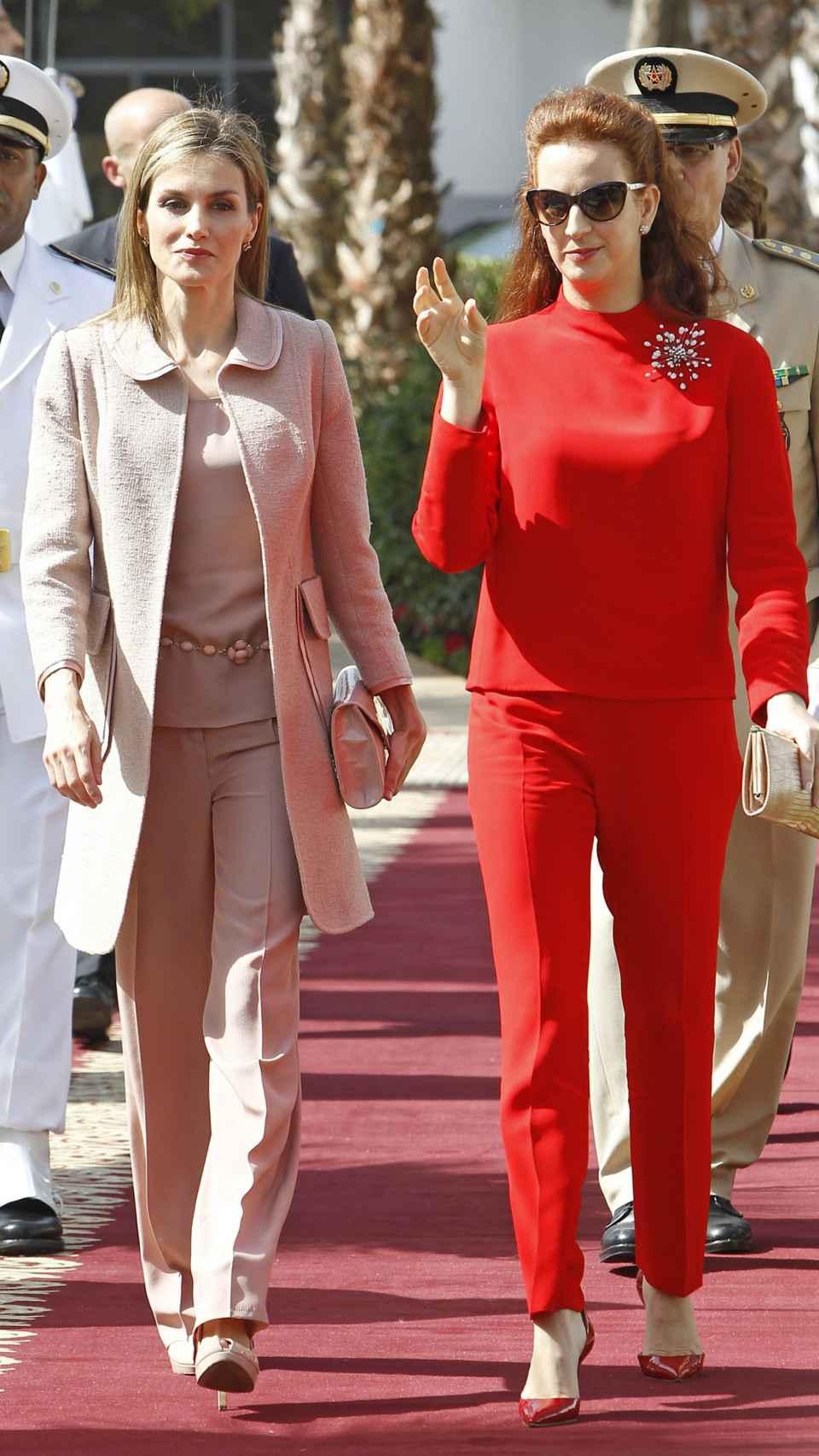 Lalla Salma y la reina Letizia en la visita oficial 2014.