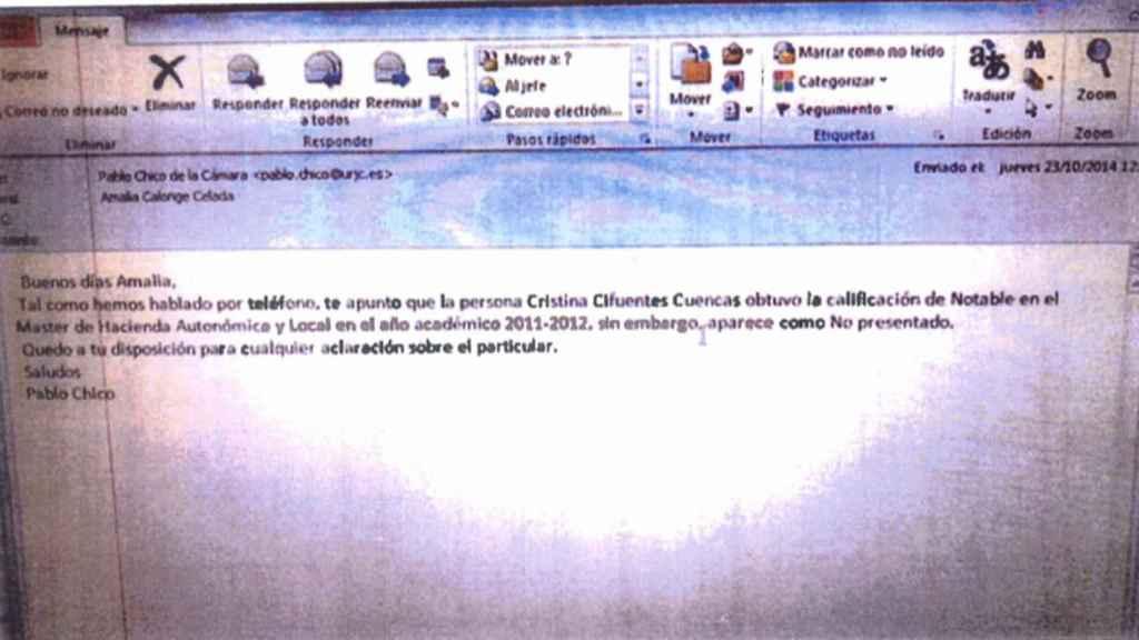 Captura de pantalla del correo electrónico donde se pedía el cambio de nota por un error.