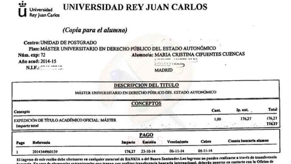 Documentos aportados por Cristina Cifuentes.